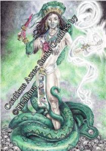 Drawing of Coatlicue, Aztec Snake Goddess, by Heshima