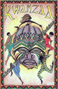 Drawing of an Afrikan mask with celebrationists dancing around it, by Heshima