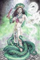 """Coatlicue, Aztec Snake Goddess, in the """"Goddess"""" series, by © Heshima Denham"""