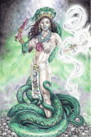 "Coatlicue, Aztec Snake Goddess, in the ""Goddess"" series, by © Heshima Denham"